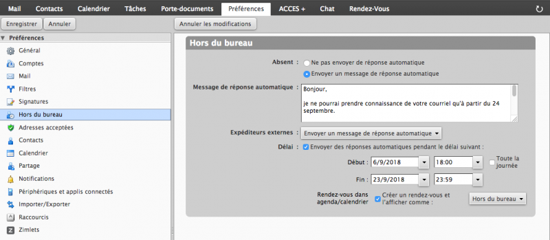 écran de configuration de message d'absence